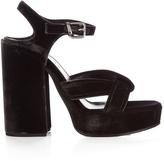 Jil Sander Velvet cross strap platform sandals