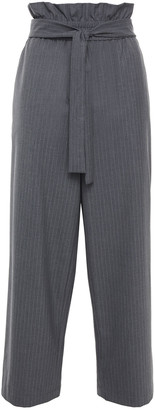 3.1 Phillip Lim Belted Pinstriped Woven Wide-leg Pants