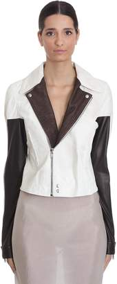 Rick Owens Dragubiker Leather Jacket In White Leather
