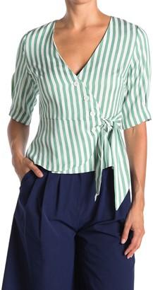 FRNCH Stripe Print Side Tie Blouse