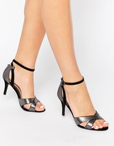 Head Over Heels By Dune Maddie Ankle Strap Silver Snake Print Heeled Sandals