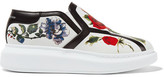 Alexander McQueen Floral-print Leather Slip-on Sneakers - White