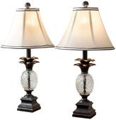 Abbyson Living Zara Pineapple Table Lamps, Set of 2, Antiqued Bronze