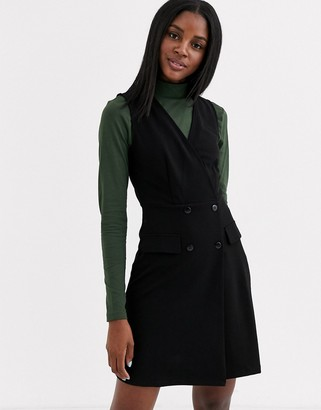 JDY sleeveless wrap pinafore dress in black