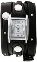 La Mer Women's Quartz Silver-Tone and Leather Watch, Color:Black (Model: LMSW1000)