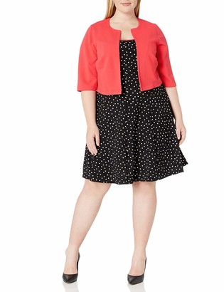 Robbie Bee Women's Plus Size 2 Pc Dotted Jacket Dress