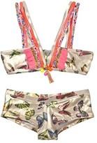 Pate De Sable Farfalla Butterfly Print Fringe Bikini