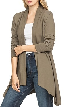 Lilla P Lillia P Draped High/Low Cardigan Sweater