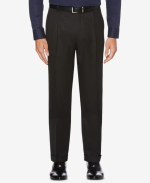 Perry Ellis Men's Portfolio Classic/Regular Fit Elastic Waist Double Pleated Cuffed Dress Pants