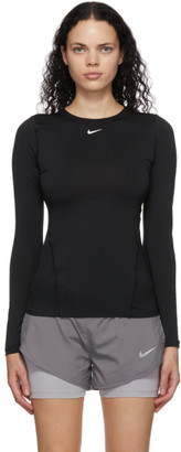 Nike Black Pro Mesh Long Sleeve T-Shirt