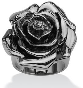 PalmBeach Jewelry Black Rhodium-Plated Rose-Shaped Electroform Flower Ring Bold Fashion