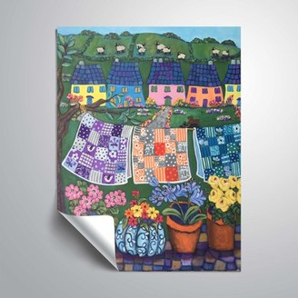 ArtWall Sheepish Hillsides with Cottages and quilts, Removable Wall Art Mural by Holly Wojahn