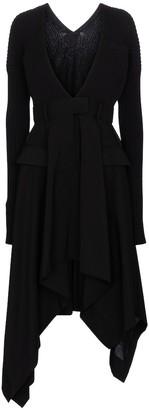 Sacai Ribbed-knit and crepe midi dress