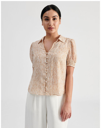 Tokito Petite Puff Sleeve Button Through Shirt