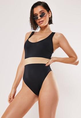 Missguided Black Fuller Bust Contrast Scoop High Leg Swimsuit