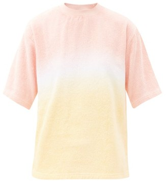 Terry - Tie-dyed Cotton-terry T-shirt - Pink Stripe