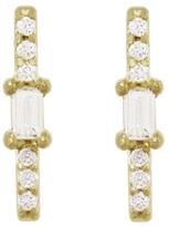 Tate Pavé And Baguette Diamond Stick Stud Earrings