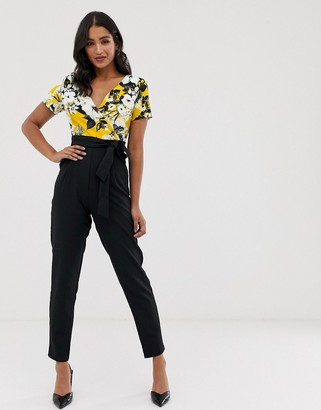 Paper Dolls short sleeve mock wrap jumpsuit with printed top and colour block tapered trousers-Multi