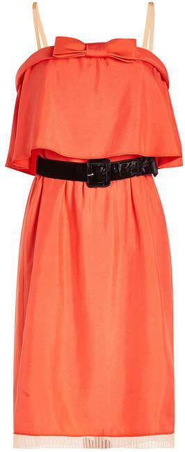 Marc Jacobs Silk Dress with Pleated Chiffon Trim