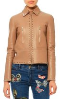 Valentino Rockstud-Trim Leather Jacket, Camel Rose