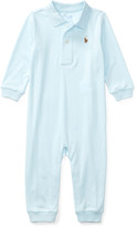 Ralph Lauren Childrenswear Long-Sleeve Pima Polo Coverall, Size 3-12 Months