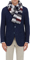 Drakes Drake's Men's Striped Wool Scarf-NAVY