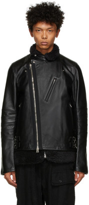 Sacai Black Leather and Shearling Jacket