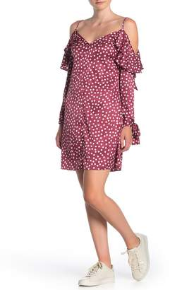 Dress Forum Polka Dot Cold Shoulder Satin Dress