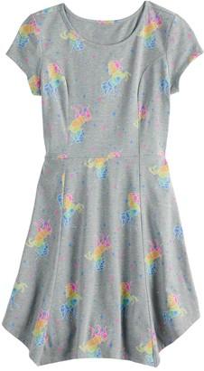 So Girls 7-16 & Plus Size SO Sharkbite Hem Printed Shirtdress