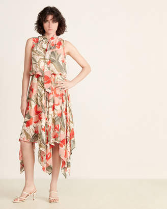 Gracia Ivory Flower Print Chiffon Dress