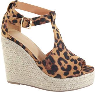 Bella Marie Women's Sandals LEOPARD - Tan Leopard T-Strap Wedge Espadrille - Women