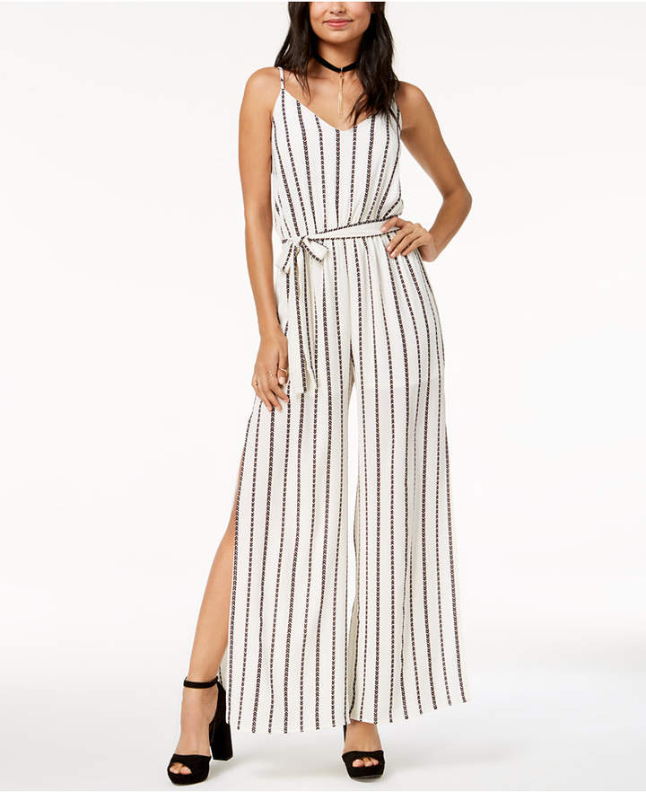 One Clothing Juniors' Belted Striped Jumpsuit