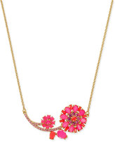 Kate Spade Gold-Tone Pink Stone Flower Collar Necklace