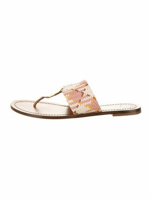 Tory Burch Woven Leather Slides Pink