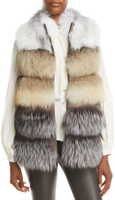 Gorski Feathered Fox Fur Vest