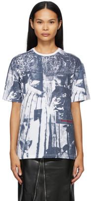 Alexander McQueen White and Navy Overprint T-Shirt