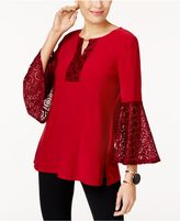 JM Collection Lace-Sleeve Blouse