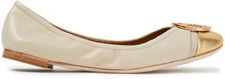 Tory Burch Reva Metallic-trimmed Leather Ballet Flats