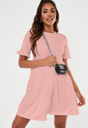Missguided Blush Frill Sleeve Tiered Smock Dress