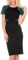 Stanzino Green Color Block Short-Sleeve Sheath Dress