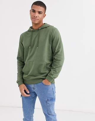 Asos Design DESIGN lightweight hoodie in khaki-Green