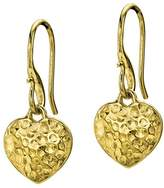 Dower & Hall Nomad Yellow Gold Plated on Sterling Silver Beaten Heart Drop Earrings of Length 2.5cm