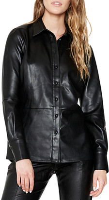 Bardot Vegan Leather Button-Front Shirt