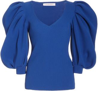 Carolina Herrera Puffed-Sleeve Ribbed-Knit Top