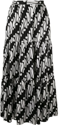 Andrew Gn Geometric Flared Maxi Skirt
