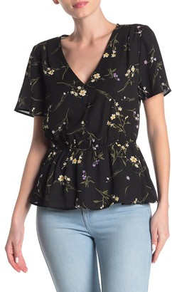 Collective Concepts Short Sleeve Floral Button-Up Blouse