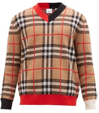 Burberry Duggan Check Jacquard Merino Wool Sweater - Mens - Beige