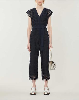 Claudie Pierlot Jajae copped wide-leg floral-lace jumpsuit