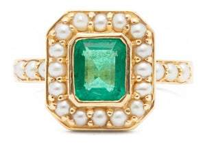 Jade Jagger Emerald, Pearl & 18kt Gold Ring - Womens - Green Gold