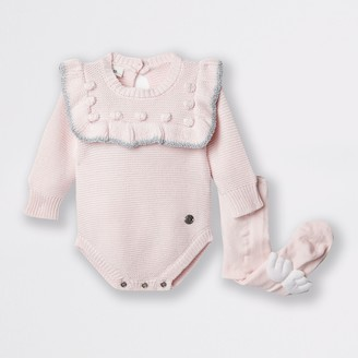 River Island Baby Pink bobble baby outfit